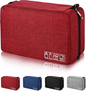 Mens Toiletry Bag Hanging Travel Shaving Dopp Kit Waterproof Organizer Bag Perfect Travel Accessory Gift (Red)