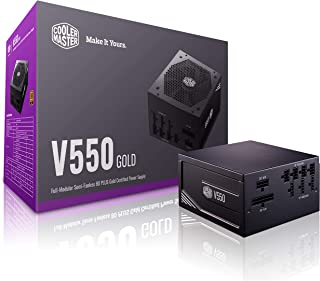 Cooler Master V Gold 550W Full-Modular Semi-Fanless 80 Plus Gold Certified Silent 135mm FDB Fan 16AWG PCIE Cables DC-to-DC...