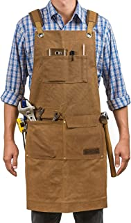 Luxury Waxed Canvas Shop Apron | Heavy Duty Work Apron for Men & Women with Pocket & Cross-Back Straps | Adjustable Tool A...