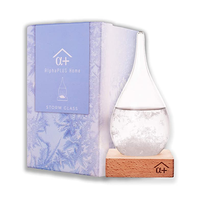 AlphaPLUS Home Weather Predicting Original Storm Glass | Water Drop Barometer Thermometer | Weather Forecaster | Admiral Robert Fitzroy HMS Beagle | Fitzroys Stormglass | Globe Predictor Gift