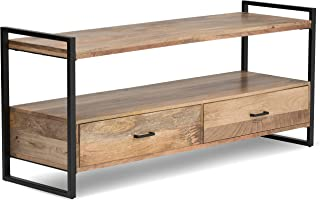 Simpli Home 3AXCRIV-05 Riverside Solid Mango Wood 60 inch Wide Modern Industrial TV Media Stand in Natural For TVs up to 65 inches