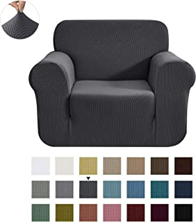 CHUN YI Stretch Chair Sofa Slipcover 1-Piece Couch Cover Furniture Protector,1 Seater Settee Coat Soft with Elastic Bottom,Checks Spandex Jacquard Fabric, Small, Gray