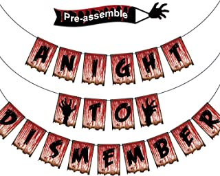 A Night to Dismember Halloween Banner Garland Scary Bloody Banner Decor for Halloween Party Decoration Zombie Party Supplies