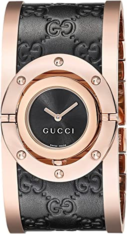 Gucci Twirl Black Rose PVD & Black Calf GG Leather