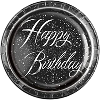 Unique Party 57485 - Glitz Silver Foil Birthday Paper Plates, Pack of 8