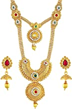 Apara Traditional Red and Green Gold Plated Double Layer Kundan Partwear Jewellery Necklace Set for Women