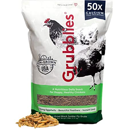 Grubblies Original USA & CA – Natural Grubs for Chickens - Chicken Feed Supplement with 50x Calcium, Healthier Than Mealworms - Black Soldier Fly Larvae Treats for Hens, Ducks, and Birds