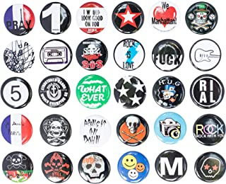 Huge Wholesale Set of 30Pc Cool Buttons Pins Badges 80's Punk Rock Hardcore Skull Buttons pins Slogans Sayings pin,Lapel pin for Clothes/Bags/Backpack/Hats/Jeans and More.