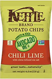 Kettle Brand Potato Chips Cooked in 100% Avocado Oil Chile Lime, 4.2 oz
