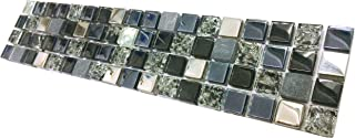 Hominter Tile Sample 3 x 12 Inches: Crackled Crystal Backsplash Rhinestone Mosaic Tile, Silver Coated Glass and Marble Wall Tiles, Black/Gray Blue Tile for Kitchen and Bathroom KS66B