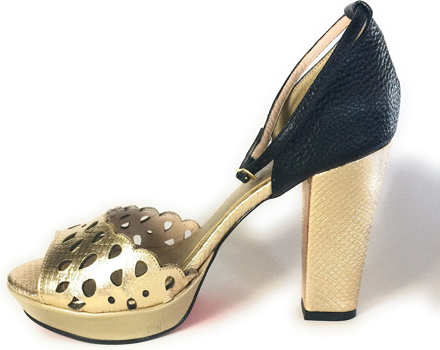 Carlo Valdini Fashion shoes Ankle Strap Block High Heels golden and Black