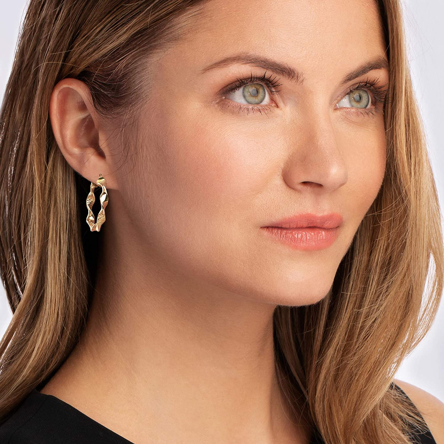 Ross-Simons Italian 18kt Yellow Gold Textured and Polished Twisted Hoop Earrings