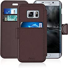 Samsung Galaxy S 6 Edge/S6 Edge Leather Wallet Case with Cards Slot and Metal Magnetic, Slim Fit and Heavy Duty, TAKEN Plastic Flip Case/Cover with Rubber Edge, for Women, Men, Boys, Girls (Coffee)