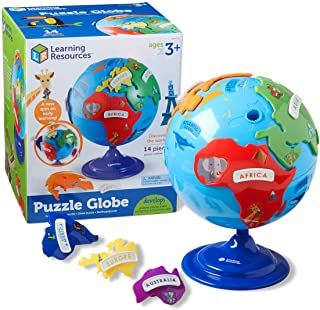 Learning Resources Puzzle Globe, 3-D Geography Puzzle, Fine Motor, 14 Pieces-LER7735.Ages 3+
