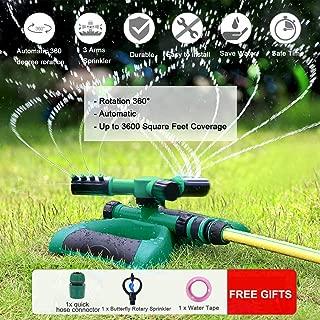 Garden Sprinkler Lawn Sprinklers for Kids Oscillating Automatic Lawn Irrigation System Grass Watering Automatic Sprinklers 360 Rotating Adjustable Lawn Grass Watering Sprinkler Durable 3 Arm