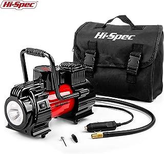 Hi-Spec Compresor de Aire Portátil de 12V con Medidor de Presión Digital, con Foco de Luz LED, Bomba para Neumáticos de Vehículos, Coches, Bicicletas, Inflables, Piscinas Hinchables o Colchones