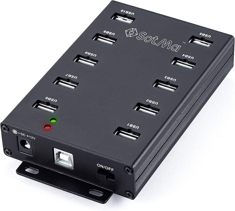 SotMa 10 Port USB 2.0 Hub - USB Hub - Powered USB Hub for Mining - Multiple USB Port Hub - USB Splitter Hub with 12V 5A Power Adapter, LEDs, Mounting Bracket - Black