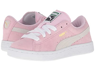 Puma Kids Suede PS (Little Kid/Big Kid) (Pink Lady/Puma White/Puma Team Gold) Girls Shoes