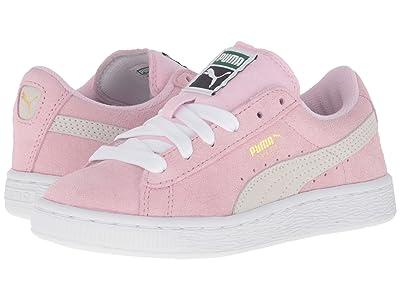 PUMA Kids Suede PS (Little Kid/Big Kid) (Pink Lady/Puma White/Puma Team Gold) Girls Shoes