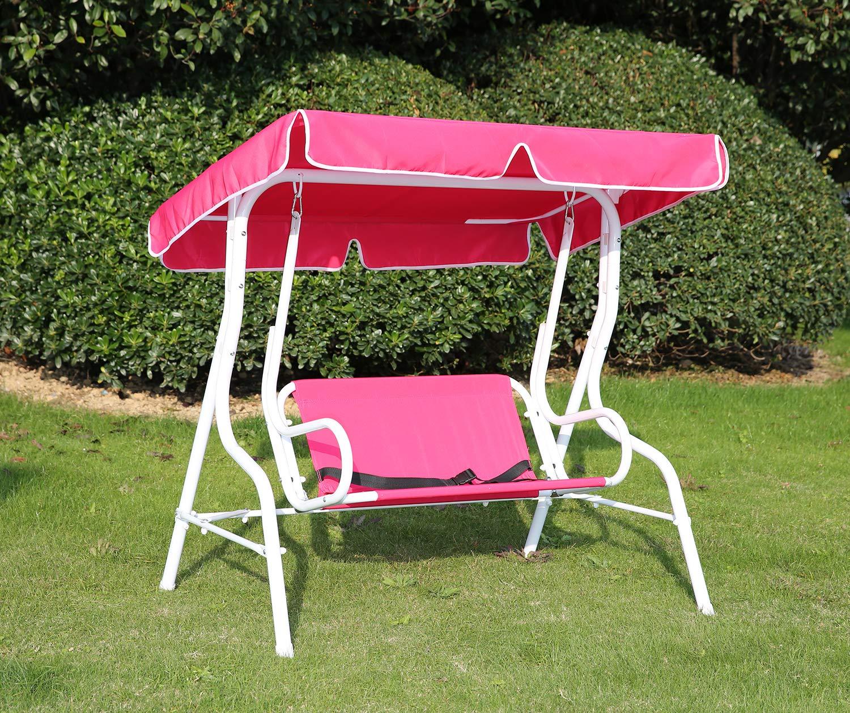 Angel Living Silla Columpio al Aire Libre para Jardín de 2 Plazas para Niños Banqueta Colgante de Color con Toldo para Sombrilla (Rosa Solo): Amazon.es: Hogar