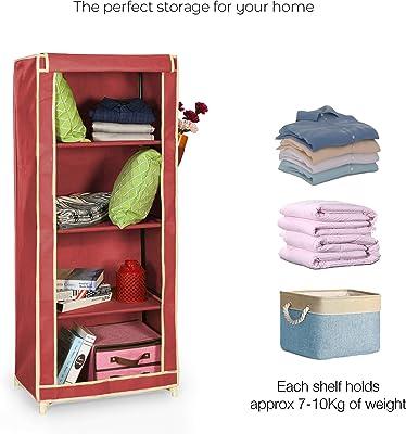 FOLDDON Foldable Wardrobe Convinient Single Door / 4 Shelves (Maroon)