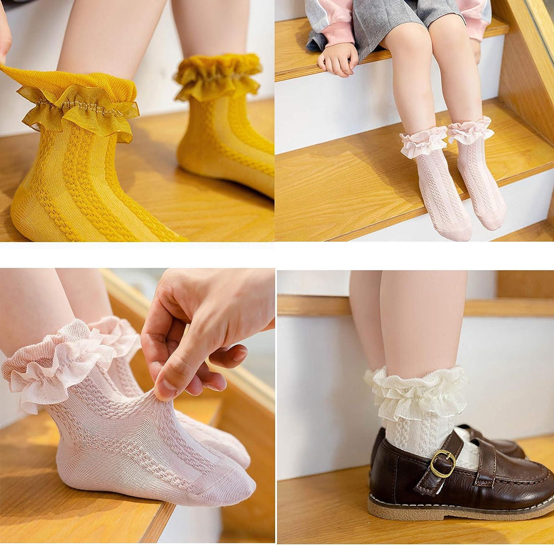 5 pairs Baby Girls Ruffle Socks,Kids Toddler Frilly Lace Ruffle Dress Cotton Socks