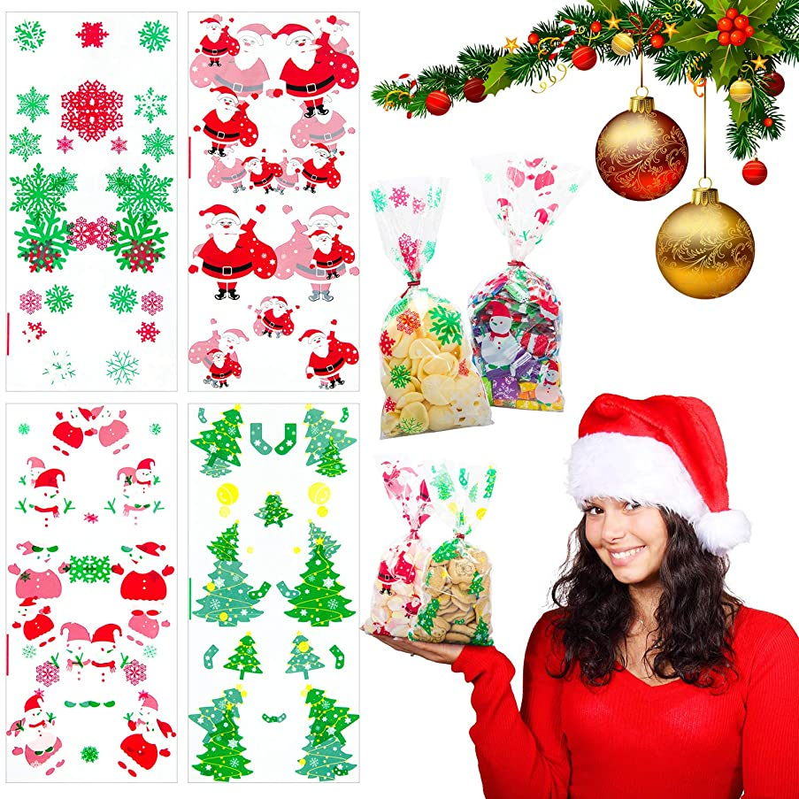 Christmas Cellophane Bags 200Pcs with Twist Ties Holiday Favor Treat Gift Goodie Cello Bags for Party Supplies Candy Cookies, Christmas Tree Snow Flake Santa Snowman Gift Box Design (11