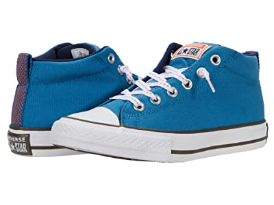Converse Kids Chuck Taylor(r) All Star(r) Street Whip Stitch Mid (Little Kid/Big Kid) (Egyptian Blue/Bold Mandarin) Boy