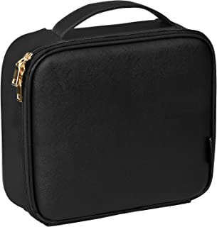 SONGMICS Cosmetic Bag, PVC Makeup Train Case, Travel Vanity Beauty Case with Adjustable Divided Compartments, Brush Pockets, Gift, Black UMUC24BK