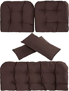Art Leon Outdoor/Indoor Home Chair Seat Cushions 5 Pieces Seat and Back Cushion Set for Patio Deep Seat,Wicker Loveseat,Settee,Bench (Chocolate)