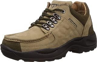 Woodland Men's Khaki Leather Sneakers - 8 UK/India (42 EU)