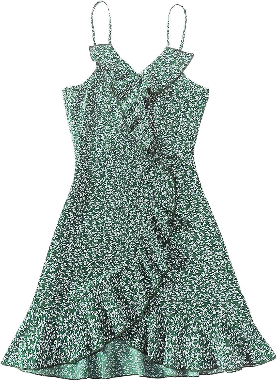 SOLY HUX Girl's Boho Print Spaghetti Strap Ruffle Trim Cami Dress