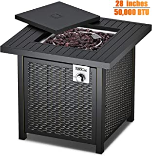 TACKLIFE Propane Fire Pit Table, 28 Inch 50,000 BTU, Outdoor Companion, Auto-Ignition Fire Table with Cover, CSA Certification, Strong Striped Steel Surface, as Table in Summer, Stove in Winter