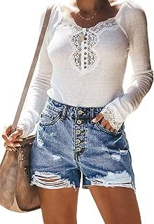Women Vintage Denim High Waist Rolled Hem Jeans Shorts