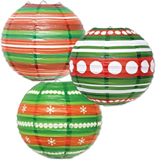 Beistle Ornament Paper Lanterns, 9 1/2-Inch, Red/Green/White
