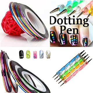 Gugzy 5 Piece 2 Way Marbleizing Dotting Pen Set for Nail Art Manicure Pedicure and 10 Colour Rolls Nail Art Decoration Striping Tape