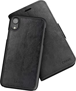 iPhone XR Leather Wallet Case, Crave Vegan Leather Guard Removable Case for Apple iPhone XR (6.1 Inch) - Black