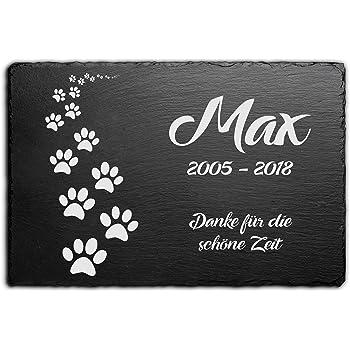 Hundepfoten Tiergrabplatte Tiergrabstein ► mit Gravur ◄ in Schiefer 40 x 25 cm