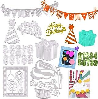 7 Ensembles Matrices de Découpe Scrapbooking Cutting Dies Thème d'anniversaire Happy Birthday DIY Carte Papier Bricolage O...