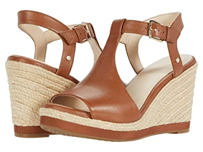 Cole Haan Cloudfeel Espadrille Wedge (90 mm) (British Tan Tumbled Leather/Natural Jute Wrap) Women