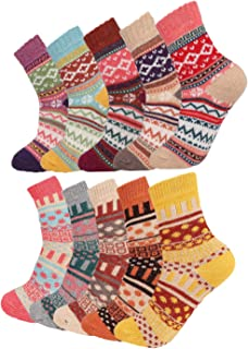 10 Pairs Vintage Winter Wool Knit Socks for Women Men Softs Thick Cozy Crew Christmas Gifts Socks