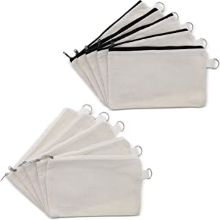 White Travel Makeup Bag for Women (9 x 5 in, 10 Pack)