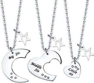 ENSIANTH 3 Pieces Big Sis Middle Sis Little Sis Jewelry Necklace Set with Star Charm Gift for Sister