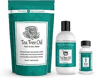 Purely Northwest Foot and Toenail System with 16 oz Tea Tree Oil Foot Soak, 9 fl oz Antifungal Tea Tree Oil Foot & Body Wa...
