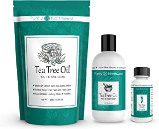 Purely Northwest Foot and Toenail Kit with 16 oz Tea Tree Oil Foot Soak, 9 fl oz Antifungal Tea Tree Oil Foot & Body Wash and 1 fl oz Tea Tree Nail Blend.