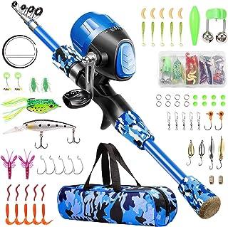 قطب ماهیگیری بچه گاماشینو - کیت دسته کوچک موسیقی جاز و ماهیگیری تلسکوپی - چرخ دنده ماهیگیری ، ترفندهای ماهیگیری ، کیف حمل ، 70 مجموعه تجهیزات کاملا ماهیگیری - برای پسران ، دختران ، جوانان