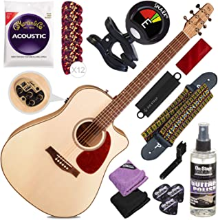 Seagull Performer CW HG QIT Acoustic/Electric Guitar + Strap + Tuner + Deluxe Accessory Bundle
