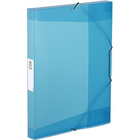Viquel - Chemise plastique à élastiques - Boite de classement format A4 - Etiquette d'identification sur le côté - Fabriqué en France - Bleu translucide