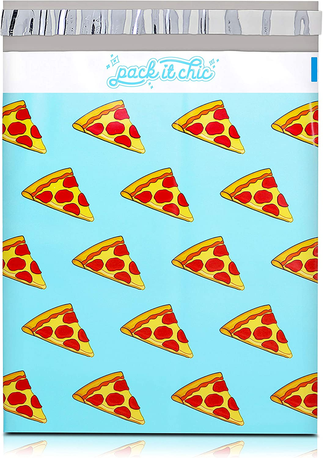 Pack It Chic - 10X13 (100 Pack) Pepperoni Pizza Poly Mailer Envelope Plastic Custom Mailing & Shipping Bags - Self Seal