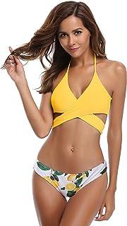 Mujeres Front Cross Bandage Bikini Floral impresión Inferior Traje de baño